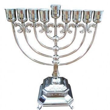 Silver Plated Oil Menorah 29cm